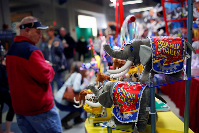 """A merchandise booth sells toys of performing elephants at Ringling Bros and Barnum & Bailey Circus' """"Circus Extreme"""" show at the Mohegan Sun Arena at Casey Plaza in Wilkes-Barre, Pennsylvania, U.S., April 29, 2016. (Photo by Andrew Kelly/Reuters)"""