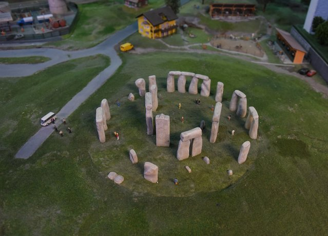 A miniature model of Stonehenge, part of Gulliver's Gate, a miniature world being recreated in a 49,000-square-foot exhibit space in Times Square, is seen during a preview April 10, 2017 in New York City. (Photo by Timothy A. Clary/AFP Photo)