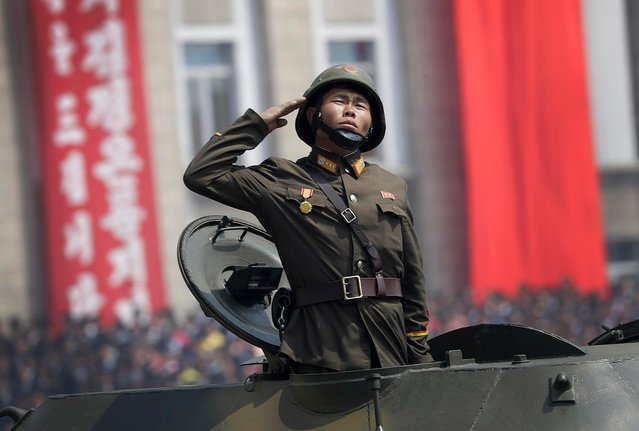 A soldier in tank takes part in a military parade on the Kim Il Sung Square Saturday, April 15, 2017, in Pyongyang, North Korea to celebrate the 105th birth anniversary of Kim Il Sung, the country's late founder and grandfather of current ruler Kim Jong Un. (Photo by Wong Maye-E/AP Photo)