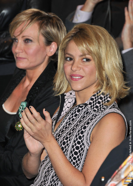 Patricia Kaas and Shakira are seen at Hotel Majestic