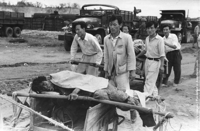 A civilian casualty of the US bombardment of Inchon in South Korea during the Korean War