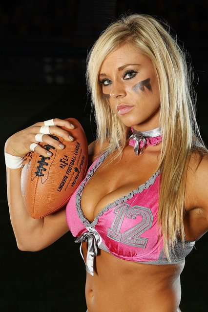 Christine Moore of the Western conference poses during the Lingerie Football League media call at Brisbane Entertainment  centre on May 30, 2012 in Brisbane, Australia