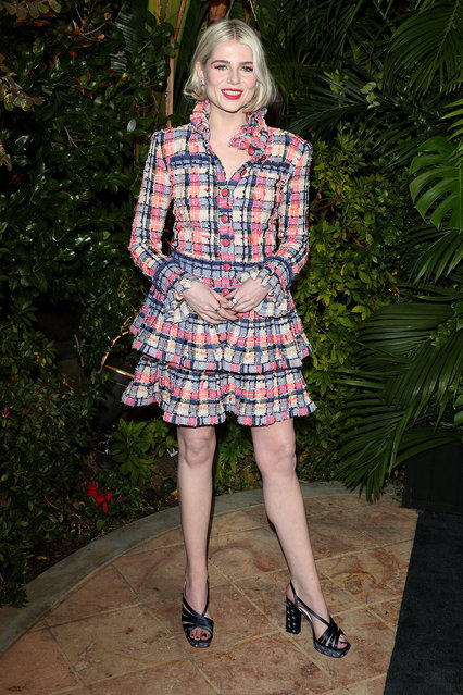 Lucy Boynton, wearing CHANEL, attends CHANEL and Charles Finch Pre-Oscar Awards Dinner at Polo Lounge at The Beverly Hills Hotel on February 08, 2020 in Beverly Hills, California. (Photo by The Mega Agency)