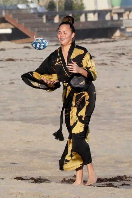 John Legend and Chrissy Teigen enjoy some fresh air while having a fun day at the beach in Malibu on March 15, 2020. (Photo by Backgrid USA)