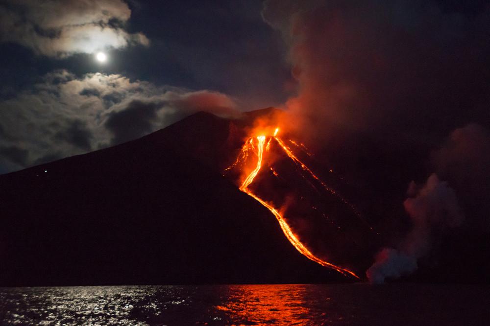 Stromboli Volcano Erupts