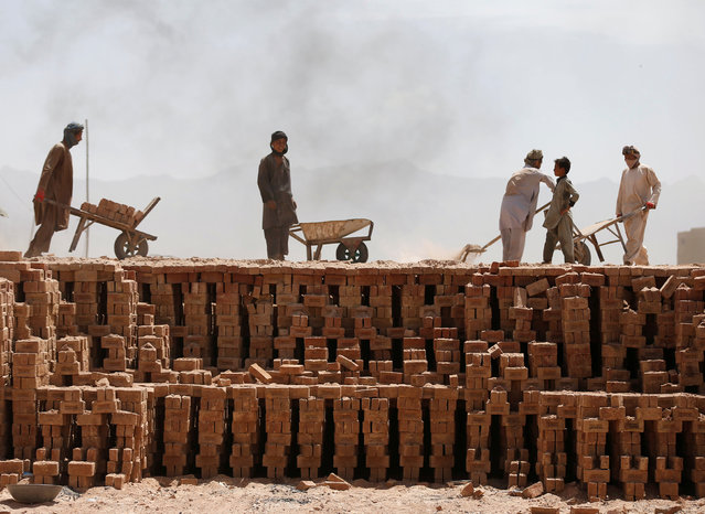 Labourers work at a brick factory on the outskirts of Kabul, Afghanistan July 18, 2016. (Photo by Omar Sobhani/Reuters)