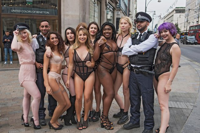 Bluebella Lingerie advertising photo shoot, Oxford Circus, London, Great Britain on September 14, 2017. (Photo by Cavendish Press/LESAUVAGE/Bluebella)