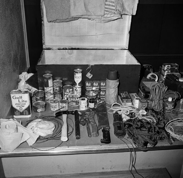 This is the army-type foot locker and supplies sniper-slayer Charles J. Whitman carried with him when he ascended the University of Texas tower to terrorize the campus with fatal rifle fire. The contents of the locker could have kept him supplied with necessities for a stay of several days. Police exhibited the supplies at headquarters, August 2, 1966 in Austin. (Photo by Ted Powers/AP Photo)