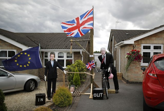 Brexit Scarecrows depicting former British Prime Minister David Cameron (L) and Foreign Secretary Boris Johnson are displayed during the Scarecrow Festival in Heather, Britain July 31, 2016. During the annual event residents of Heather are asked to make scarecrows, to raise thousands of pounds for local groups and charities. (Photo by Darren Staples/Reuters)