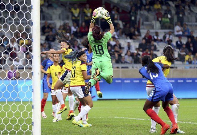 2016 Rio Olympics, Soccer, Preliminary, Women's First Round, Group G France vs Colombia, Mineirao, Belo Horizonte, Brazil on August 4, 2016. Goalkeeper Sandra Sepulveda (COL) of Colombia makes a safe. (Photo by Mariana Bazo/Reuters)
