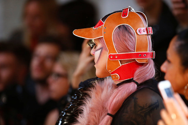 A person attends a fashion show of designer Marina Hoermanseder at the Berlin Fashion Week Autumn/Winter 2018 in Berlin, Germany, January 18, 2018. (Photo by Hannibal Hanschke/Reuters)