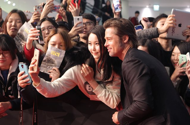 "Brad Pitt attends the ""Fury"" Premiere at Time Square on November 13, 2014 in Seoul, South Korea. (Photo by Chung Sung-Jun/Getty Images)"