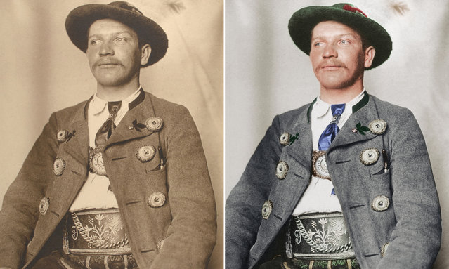 A Bavarian man circa 1910 dressed in the leather breeches of the alpine regions of Germany, known as Lederhosen, and a wool jacket with horn buttons. (Photo by Augustus Francis Sherman/New York Public Library/The Guardian)