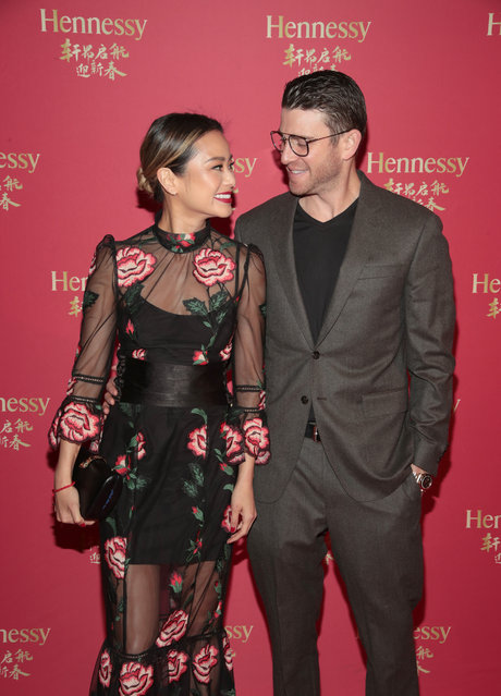 Actor Bryan Greenberg and wife, actress Jamie Chung, attend Hennessy X.O's Lunar New Year celebration at DaDong on February 28, 2018 in New York City. An encounter of two cultures, two traditions and savoir-faire, the 'East Meets West' themed evening paid tribute to the Cognac's rich history and long-standing connection with the Chinese community, infusing contemporary concepts with traditional symbols to commemorate the Year of the Dog. (Photo by Cindy Ord/Getty Images for Hennessy)