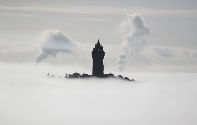 The Wallace Monument is shrouded in fog as it floats through the Carse of Stirling, Scotland on September 29, 2020. (Photo by Andrew Milligan/PA Images via Getty Images)