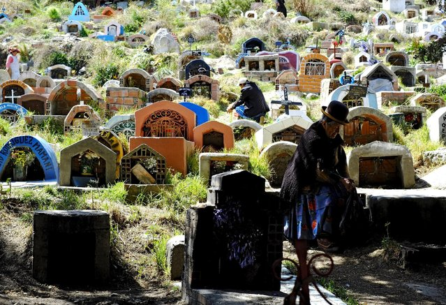 "A woman sits in ""Las LLamitas"" cemetery during the All Saints Day celebrations in La Paz, Bolivia, November 1, 2015. (Photo by David Mercado/Reuters)"