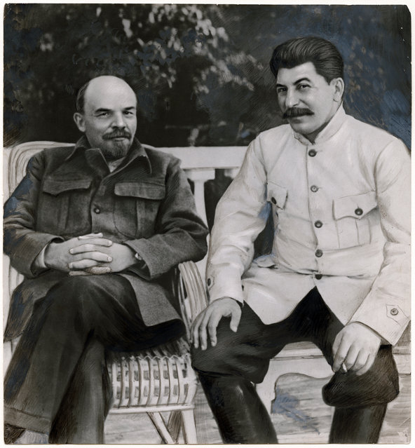 """Lenin and Stalin in Gorky, 1922"" by Unknown, Russian, 1949. (Photo courtesy of The Metropolitan Museum of Art)"