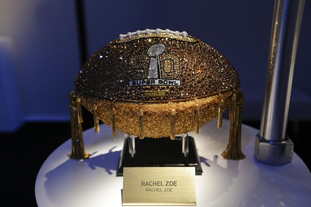 A Rachel Zoe designed football is displayed at the unveiling of the CFDA Footballs Wednesday, January 20, 2016, at the NFL headquarters in New York. (Photo by Frank Franklin II/AP Photo)