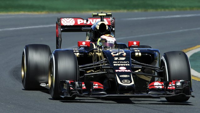 Lotus Formula One driver Pastor Maldonado of Venezuela drives during the second practice session of the Australian F1 Grand Prix at the Albert Park circuit in Melbourne March 13, 2015. REUTERS/Mark Dadswell