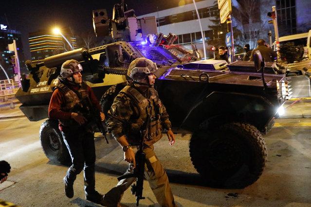 Turkish police secure the area near an art gallery where the Russian Ambassador to Turkey Andrei Karlov was shot in Ankara, Turkey, December 19, 2016. (Photo by Umit Bektas/Reuters)