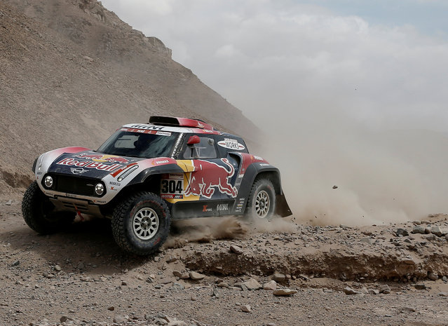 X-Raid Mini JCW's driver Stephane Peterhansel and co-driver David Castera in action during the Dakar Rally Stage 4 between Arequipa and Tacna, in Peru, on January 10, 2019. (Photo by Carlos Jasso/Reuters)