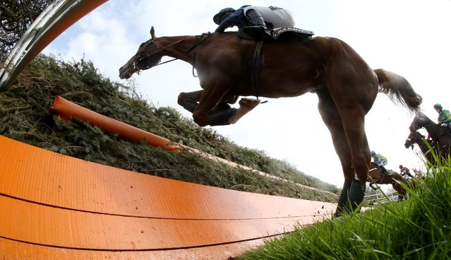 Horse Racing – Crabbie's Grand National Festival – Aintree Racecourse April 10, 2015: Fairy Rath ridden by Tom Cannon jumps Becher's Brook during the 16.05 Crabbies Topham Steeple Chase. (Photo by Andrew Boyers/Reuters)