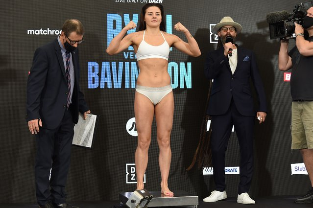 Sandy Ryan at the Matchroom Fight Camp weigh in on July 30, 2021 in Brentwood, England. (Photo by Leigh Dawney/Getty Images)