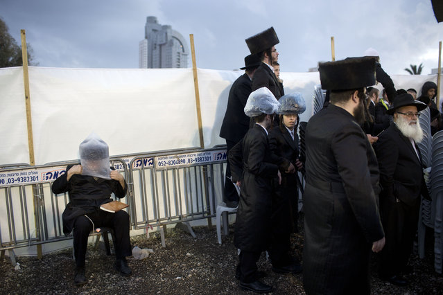 An Ultra-Orthodox Jewish man covers his hat with a plastic bag to avoid rain during the wedding of the grandson of the Rabbi of the Tzanz Hasidic dynasty community, in Netanya, Israel, Wednesday, March 16, 2016. (Photo by Oded Balilty/AP Photo)