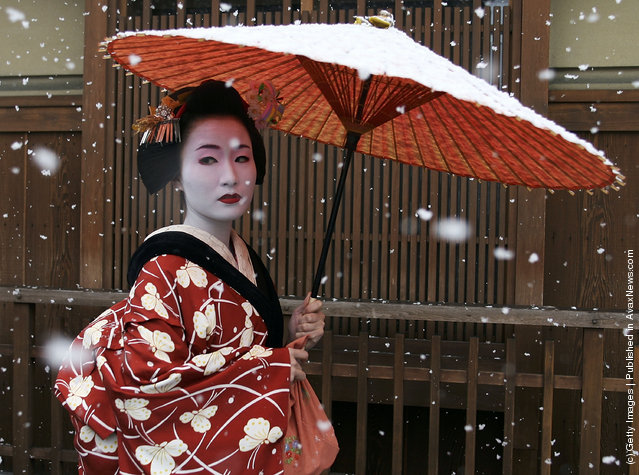 A Maiko, a traditional Japanese dancer, walks in the snow in Gion, Kyoto's famous geisha district