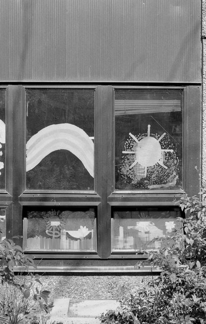 The window of a kindergarten is seen at Voss street in Berlin, April 20, 2015. (Photo by Fabrizio Bensch/Reuters)