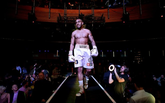 Grant Dennis makes his way to the ring prior to his Final fight against Derrick Osaze during the Ultimate Boxxer III at O2 Indigo on May 10, 2019 in London, England. (Photo by Jack Thomas/Getty Images)