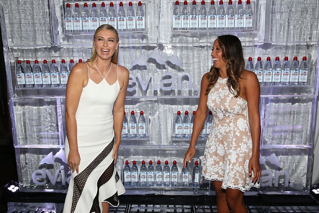 Maria Sharapova and Madison Keyes attend the evian Brand Ambassador & 750 ml Sports Bottle Launch at HYDE Sunset: Kitchen + Cocktails on March 2, 2017 in West Hollywood, California. (Photo by Joe Scarnici/Getty Images for evian)