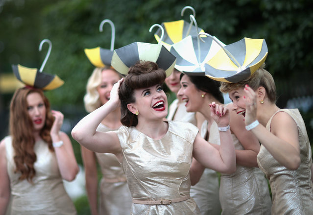 ASCOT, ENGLAND - JUNE 17:  The Tootsie Rollers laugh as they break up from a group photo on day 2 of Royal Ascot at Ascot Racecourse on June 17, 2015 in Ascot, England.  (Photo by Chris Jackson/Getty Images)