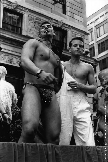 Demonstrators on the annual Gay Pride march, promoting gay and lesbian rights, London, 26th June 1995