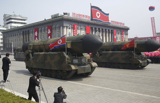 Missiles are paraded across Kim Il Sung Square during a military parade Saturday, April 15, 2017, in Pyongyang, North Korea, to celebrate the 105th birth anniversary of Kim Il Sung, the country's late founder and grandfather of current ruler Kim Jong Un. (Photo by Wong Maye-E/AP Photo)