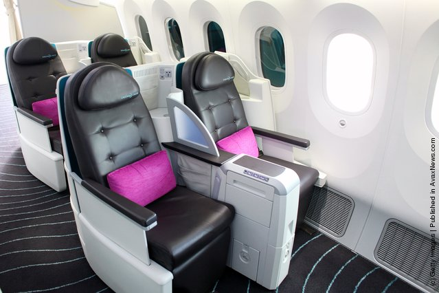 The interior of the first class cabin of the Boeing 787 Dreamliner