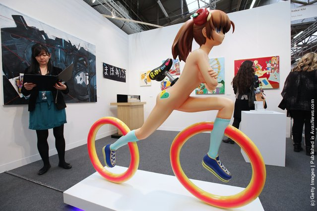 Humanoid Bicycle - Little by Mahomi Kunikata is seen at The Armory Show, New York's annual international art fair