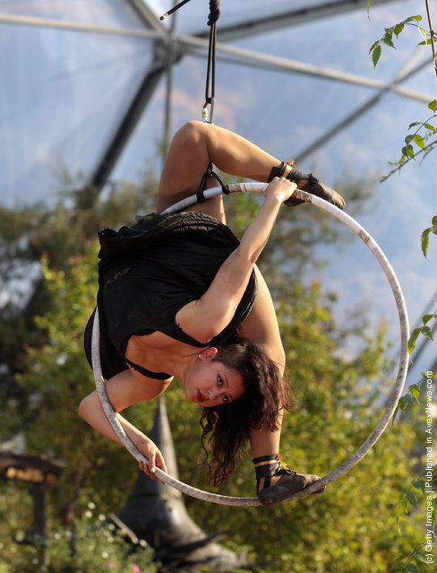 Contortionist Leilani Franco performs at a preview for NoFit State Circus new summer show at the Eden Project