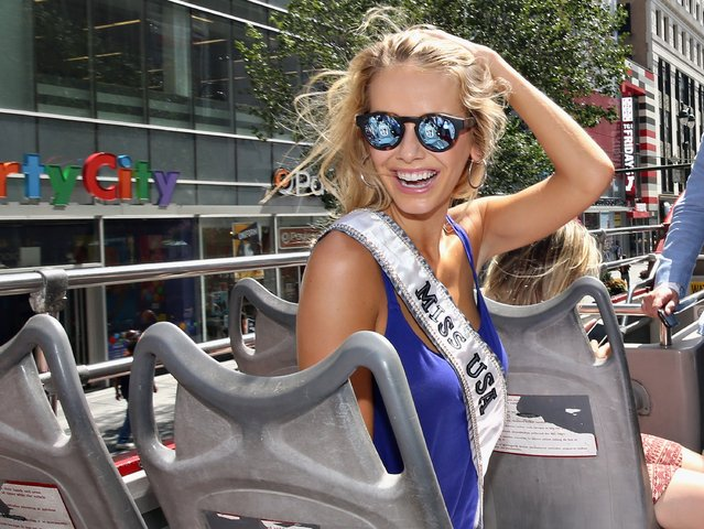 Miss USA 2015 Olivia Jordan takes a ride on the Gray Line CitySightseeing NYC bus on July 28, 2015 in New York City. (Photo by Cindy Ord/Getty Images for Gray Line CitySightseeing New York)