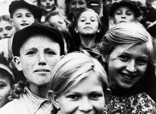 The faces of Jewish children living in a ghetto in Szydlowiec, Poland, under Nazi occupation, on December 20, 1940