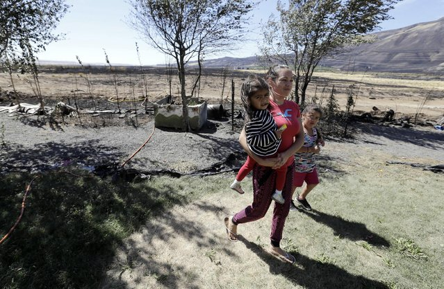Adriana Lemus holds her two-year-old daughter, Vanessa, as she and her other daughter, Lizette, 5,  walk back to their house away from fire-ravaged land  in Roosevelt, Wash., Wednesday, August 5, 2015. An early morning wildfire came within 30 feet of Lemus's  house as she and her family evacuated.  Residents were allowed to return to their homes this morning. (Photo by Don Ryan/AP Photo)