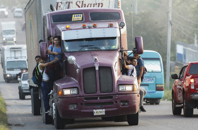 Migrants ride on the side of a truck moving along the highway, in hopes of reaching the distant United States, in San Pedro Sula, Honduras, early Wednesday, January 15, 2020. Hundreds of Honduran migrants started walking and hitching rides Wednesday from the city of San Pedro Sula, in a bid to form the kind of migrant caravan that reached the U.S. border in 2018. (Photo by Delmer Martinez/AP Photo)