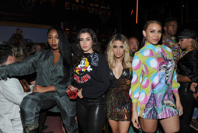 """(L-R) Normani Kordei, Lauren Jauregui Ally Brooke and Dinah Jane of Fifth Harmony  at UGG x Jeremy Scott Collaboration Launch Event at The h.wood Group's """"Poppy"""" on August 27, 2017 in West Hollywood, California. (Photo by Donato Sardella/Getty Images for UGG)"""