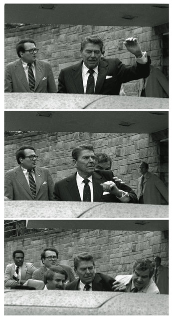 In this March 30, 1981 black-and-white three picture combo file photo, President Reagan waves, then looks up before being shoved into Presidential limousine by Secret Service agents after being shot outside a hotel in Washington. (Photo by Ron Edmonds/AP Photo)
