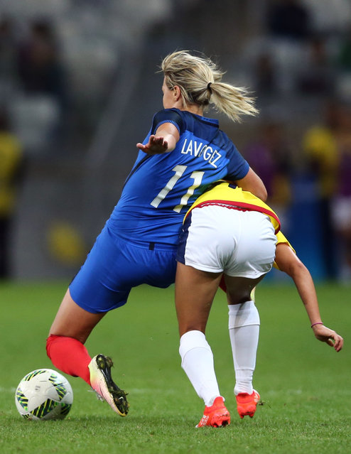 2016 Rio Olympics, Soccer, Preliminary, Women's First Round, Group G France vs Colombia, Mineirao, Belo Horizonte, Brazil on August 3, 2016. Claire Lavogez (FRA) of France and Tatiana Ariza (COL) of Colombia  in action. (Photo by Mariana Bazo/Reuters)