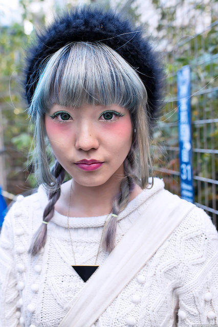Green Eyes, Harajuku. A stylish girl with braided hair & green contacts who I photographed on the street in Harajuku. (Tokyo Fashion)