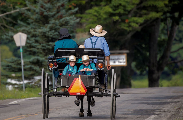 An Amish family travels by horse and buggy down a road in New Albion, New York, U.S. on July 21, 2020. (Photo by Brendan McDermid/Reuters)