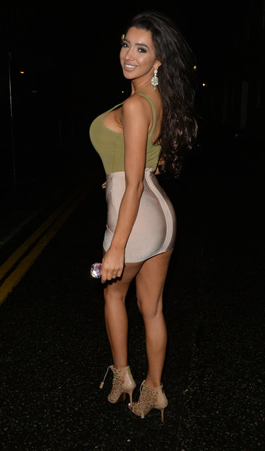 Playboy model Chloe Khan and her model friend, reality TV star Kayla Jenkins leave a restaurant and head to libertine night club in West London, UK on September 5, 2016. (Photo by Palace Lee)