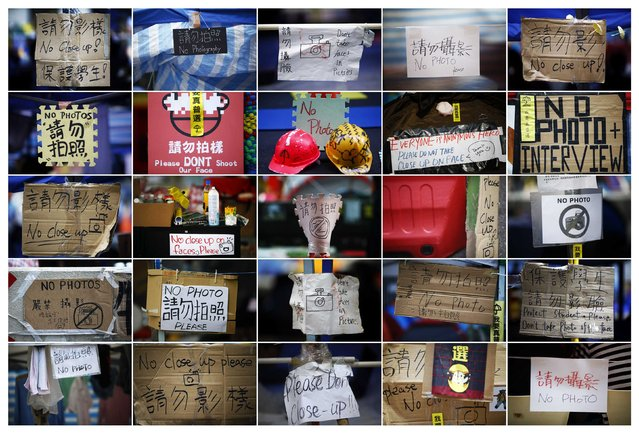 "A combination photo shows signs asking not to take pictures at different pro-democracy protesters' encampments in Hong Kong November 1 and 2, 2014. While some protesters are happy to be interviewed and photographed, others are putting ""no photo"" signs asking not to be disturbed and for their faces not to be shown fearing possible reprisal from authorities who declared protesters' rallies illegal. (Photo by Damir Sagolj/Reuters)"