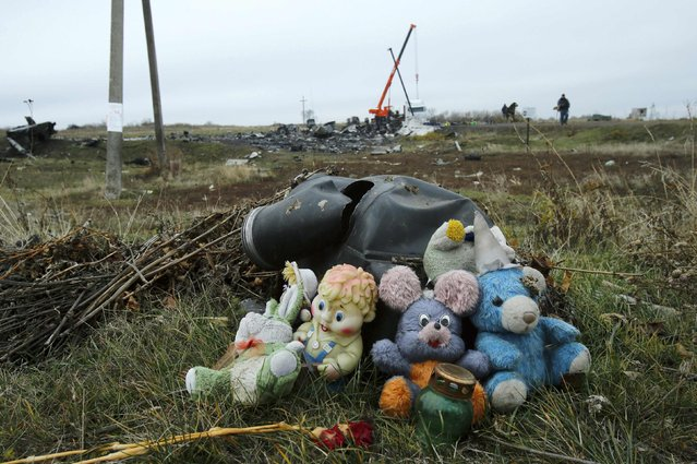 Soft toys are seen near the crash site of the Malaysia Airlines Boeing 777 plane (flight MH17) near the settlement of Grabovo in the Donetsk region November 16, 2014. (Photo by Antonio Bronic/Reuters)
